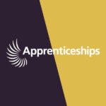 Yellow and black logo with the word apprenticeships across the middle